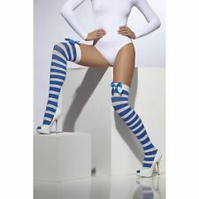 Opaque Hold-Ups Blue & White Glamour Stockings Fancy Dress Costume Accessory