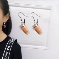 Trendy Resin Milk Tea Cap Dangle Pendant Hook Clip Earrings Jewelry Decor Precio