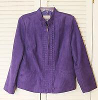Tanjay Jacket Size 10 Petite Womens  Zip Front Purple Lined Career Ruffles NWOT