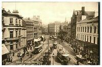 Vintage postcard Castle Place Belfast Northern Ireland tram cars W E Walton