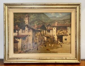 Gravina Antonio (Napoli 1934-2011) dipinto ad olio su tela scena campestre