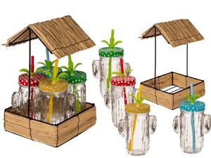 Trinkglas-Set mit 4 Gläsern Kaktus Tablett Becher Strohhalm Garten Sommer Party