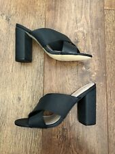 UK 6 FIORE BLACK BLOCK HEEL SANDALS SUMMER/HOLIDAY/TOWIE/CLUBBING/IBIZA/GYM  NEW
