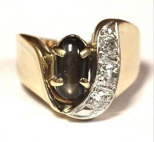 14k yellow gold .24ct diamond black star sapphire cabochon gemstone ring 7.8g