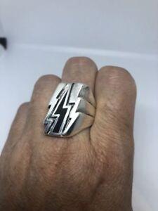 1980's Vintage Silver White Bronze Black Lightning Bolt Ring Size 10.25