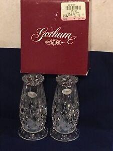 """GORHAM Crystal King Edward Footed Salt & Pepper Set Clear Crystal 4 1/2"""" NIB"""