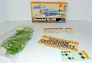 Henschel Hs 129 Original Kit 1/72 Scale 1-4103 Open Box Sealed Parts 1982