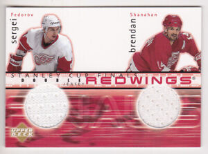 01-02 Upper Deck Sergei Fedorov Brendan Shanahan Jersey Stanley Cup Finals 2001