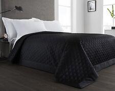 Black Quilted Reversible Bedspread/Comforter