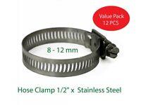 "Hose Clamp 1/2"" x 8 - 12 mm SS (SET OF 12 PCS)"