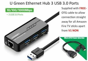UGREEN 3 Ports USB 2.0/3.0 Hub Ethernet Adapter For Amazon Fire Stick TV and 4K