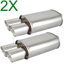 2X Polished Spun-locked Exhaust Oval Muffler Double Wall Dual Slant Tip for Ford