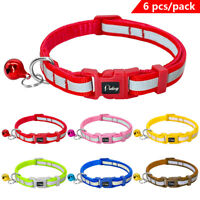 6x Reflective Small Dog Collars for Pet Puppy Cat Quick Fit Adjustable w/ Bell