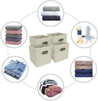 4 x Cream Folding Cube Storage Boxes Collapsible Fabric Storage Foldable Eyelet