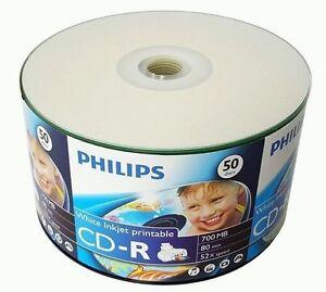 100 PHILIPS Blank 52X CD-R CDR White Inkjet Hub Printable 700MB Media Disc