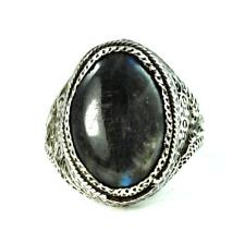 Vintage Silver Labradorite Oval Signet Filigree Ring 21mm Size 8