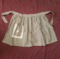 Vintage Retro Brown Gingham Half Apron with lace and flower embroidery