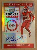 2019 Contenders Optic Prizm Rookie Ticket Auto Juan Thornhill #155. KC Chiefs