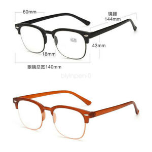 Designer Half-Rim Reading Glasses +1.0 to +4.0 Lens Spring Geek Black Spectacles