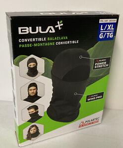 BULA Polartec Convertible Balaclava L/XL Black LARGE XL Lightweight Warmth NEW