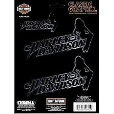 HARLEY DAVIDSON FEMALE SILHOUETTE WINDOW BUMPER DECAL STICKER SET chroma #8109