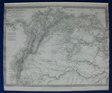 SOUTH AMERICA I, ECUADOR, VENEZUELA, BRAZIL, original antique map, SDUK, 1844