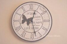 Wall Clock a Lovely Lady and a Grumpy Old Man Round Novelty 29cm Sg1212