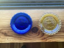 New listing 2 Thornton W Burgess Pairpoint Glass Cup Plate Amber Old Mrs. Possum Bobby Coon