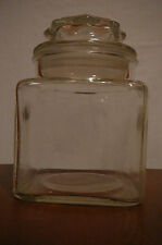 """Vintage 5.25"""" tall square glass canister/ apothecary jar with lid and seal"""
