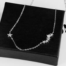 Women's 925 sterling silver small crystal star Pendant Necklace jewelry Charms!