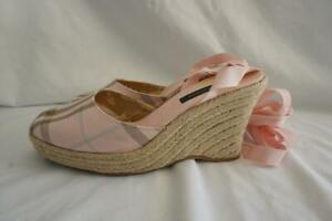 Burberry Pink Fabric Nova Check Tie Up Esoedrille 8b Wedges Size: EU 38 (Approx.