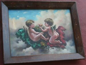Antique SuperB 19th Century Oil Painting on Canvas Angels in the Sky