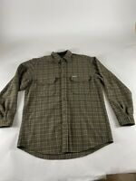 Woolrich Sz M Brown Plaid L/S Wool Flannel Button Shirt