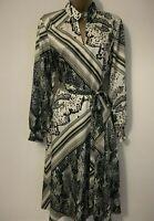 Ted Baker Snake Print Satin Drape Long Sleeve Midi Wrap Belt Party Dress 10 38
