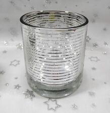 Teelichthalter Glas Ø = 7,0 klar-silber Teelichtglas Teelicht-Glas*Tisch-Deko