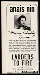 1946 Anais Nin photo Ladders To Fire book release vintage print ad