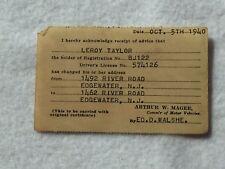 Vintage 1940 New Jersey Vehicle DMV Address Change Le Roy Taylor 21979