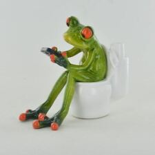 More details for comical frogs on the toilet resin figurine ornament frog statue gift