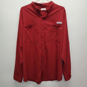 Columbia PFG Vented Button Down Shirt Mens Size XL Red Long Sleeve Quick Dry