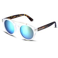 Retro Women Round Sunglasses Blue Lens Flat Top Plastic Frame Fashion Eyewear