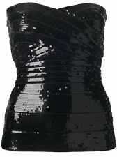 NWT HERVE LEGER CORSET DARIA   BLACK SEQUINED STRAPLESS TOP 998.00 XS