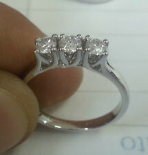 Anillo De Oro Blanco 18 ct Trilogy Diamantes 0,33 Quilates f color vs1 Navidad