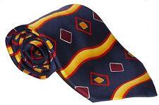 100% Silk Tie / Men's Necktie -  Blue with Yellow Wavy Stripe & Diamond Pattern