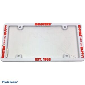 Hooters Makes You Happy License Plate Frame White Plastic New Est. 1983 Auto
