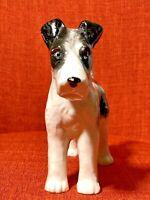 "Vintage Japan Black & White Airedale Terrier Ceramic Figurine 6""X6"""