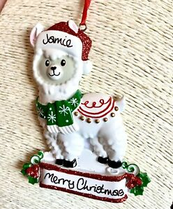 Personalised Llama Christmas Tree Decoration Hanging Bauble Xmas 2020