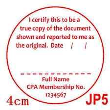 Personalised Custom Self ink Certify CPA / JP True Copy Stamp 40mm JP5