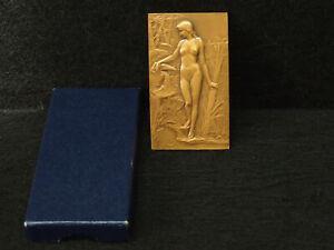PLAQUE BRONZE ART NOUVEAU G.PRUD'HOMME 1904 MONNAIE DE PARIS 1977 NU FEMININ