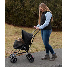 Pet Stroller for Cats and Dogs up to 15-pounds Walk Folding Carrier Cart Black