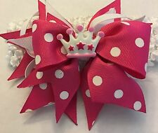 Handmade pink and white polka dots princess inspired with crown resin Hair Bow
